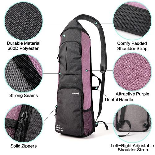 Yoga bags carriers women purple Warrior2