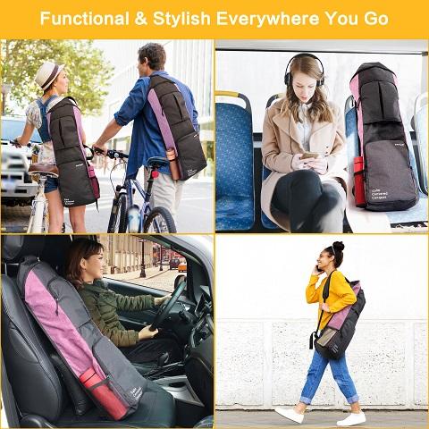 Yoga mat carrying gym bag men women cycling walking driving bus Warrior2