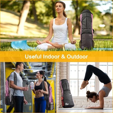 Yoga mat sling gym bag backpack purple grey men woman indoor smiling outdoor warrior2